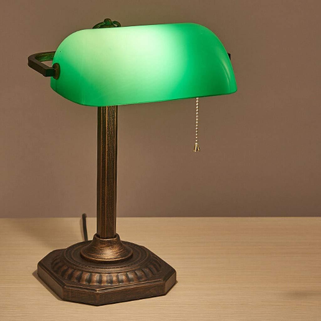 RXY-101 アメリカの銀行装飾的なライトレトログリーングラスアイケアテーブルランプ (サイズ : 38x22.5cm) 38x22.5cm  B07Q83YG31