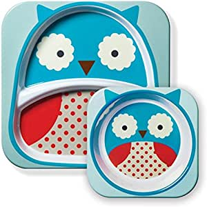 Skip Hop Zoo Melamine Plate and Bowl Set,Owl