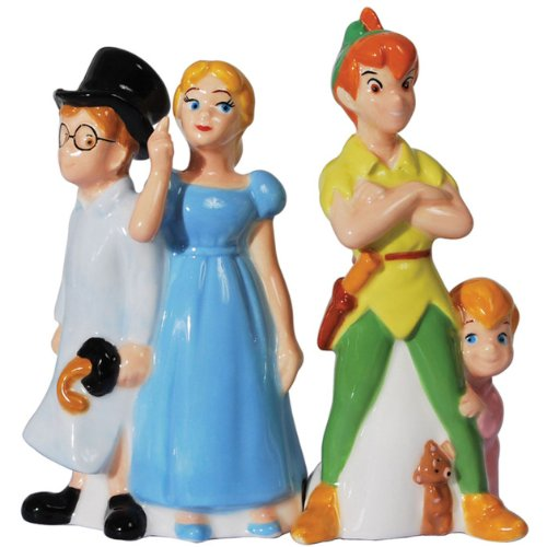 Westland Giftware Magnetic Ceramic Disney Peter Pan and Friends Salt and Pepper Shaker Set, 4.5-Inch ()