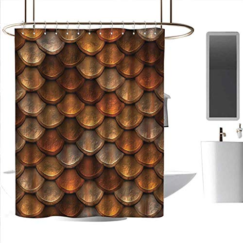 Shower Curtains White and tan Vintage,Scale Pattern with Medieval Inspirations Half Circles Design Ancient Armor,Bronze and Gold,W48 x L84,Shower Curtain for Women ()