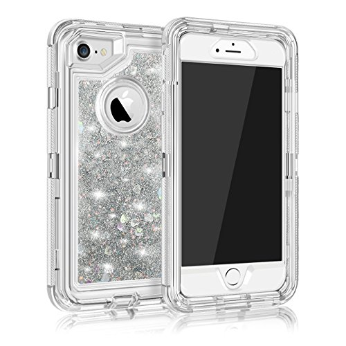(MAXCURY for iPhone 6 6s 7 8 Case, Glitter 3D Bling Quicksand Flowing Liquid 3 in 1 Heavy Duty Shockproof TPU Silicone + PC Cover for iPhone 6/6s (Silver, iPhone 6/6s/7/8))