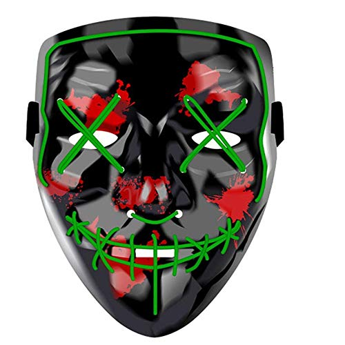 LED Halloween Mask - Halloween Scary Cosplay Light up Mask, EL Wire Mask Glowing mask for Halloween Festival Party (Green)