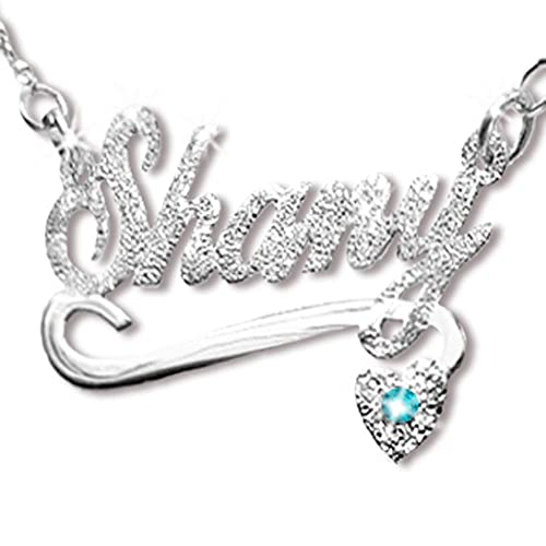 5ca8041486 Image Unavailable. Image not available for. Color: Custom Name Necklace  Sterling Silver Heart & Stone