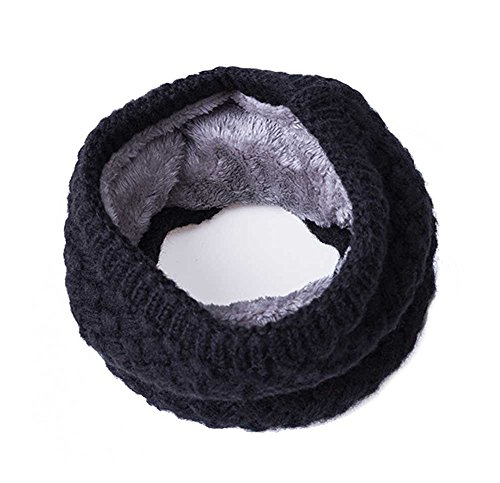 Leories Winter Infinity Scarf knit Neck Warmer Chunky Soft Thick Circle Loop Scarves Black