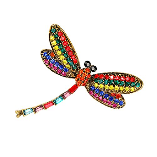 Ezing Small Antique Vintage Crystal Butterfly Dragonfly Peacock Brooch Owl (A)