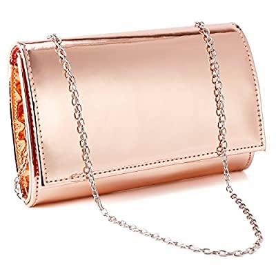 Fraulein38 Shiny High-Gloss Patent Leather Prom Clutch Women Handbag Shoulder Bag