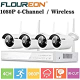 FLOUREON Wireless Home Security Camera System 4CH 1080P NVR Kits + 4 Pack 960P 1.3MP HD Wireless IP Camera Network WiFi Night Vision Remote Access Motion Detection (4CH+ 4X 960P Camera)