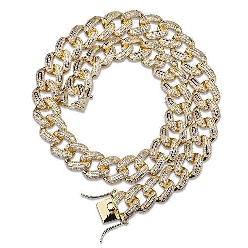 SHINY.U Hip Hop Micro Pave Rhinestone CZ Miami Baguette Cuban Chain Necklace for Men (18