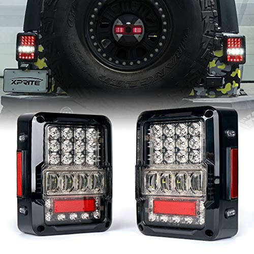 - Xprite LED Tail Lights for 2007-2018 Jeep Wrangler JK JKU, High Intensity Led Taillights w/ 4D Clear Lens Parking Light, Brake Turn Signal Lamp and Reverse Lamps Function (DOT Approved)