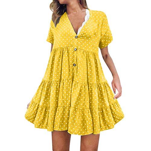 Women's Summer Mini Dress V-Neck Vintage Polka Dot Casual Short Dress Loose Sleeveless Ruffle Party Club A-Line Dresses Yellow - Ella Moss Maternity