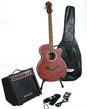 Deluxe Guitarra Western Set Red Mate & Amplificador & accesorio