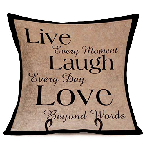 "Fukeen Cotton Linen Standard Retro Throw Pillow Case Cover Live Laugh Love Motivational Quotes Print, Home Decor Cushion Covers with Words for Book Lover Couch 18"" x 18"""
