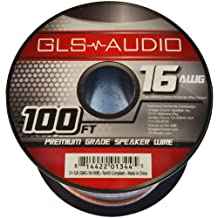 GLS Audio Premium 16 Gauge 100 feet (30.48 meters) Speaker Wire - True 16AWG Speaker Cable 100ft Clear Jacket - High Quality Spool Roll 16G 16/2 Bulk