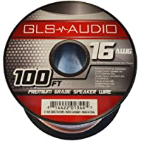 GLS Audio Premium 16 Gauge 100 Feet Speaker Wire - True 16AWG Speaker Cable 100ft Clear Jacket - High Quality 100 Spool Roll 16G 16/2 Bulk