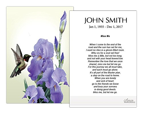 Funeral Memorial Prayer Cards (50 Cards) FPC1188EN Hummingbird and Iris Flower (Custom Printed - Select Desired Prayer) ()