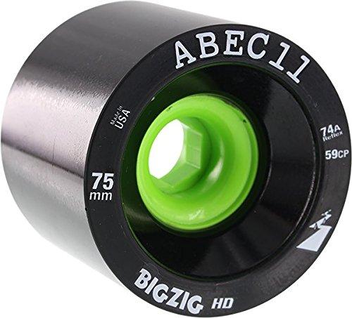 Bigzigs Longboard - ABEC 11 BigZigs HD Black/Lime Longboard Skateboard Wheels - 75mm 74a (Set of 4)