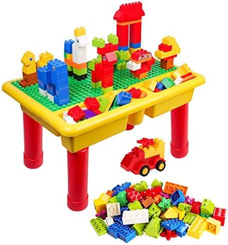 burgkidz Mesa De Construcciones Block, Mesa de Juego Grande Clásica de 68 Piezas con Placa Base para Niños, Compatible con la Mayoría de los Bloques de Marcas Importantes: Amazon.es: Juguetes y juegos