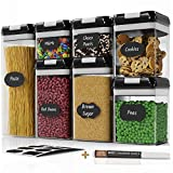 Chef's Path Airtight Food Storage Container Set - 7 PC Set - Labels & Marker - Kitchen & Pantry Organization Containers - BPA-Free - Clear Plastic Canisters with Improved Durable Lids (Black)