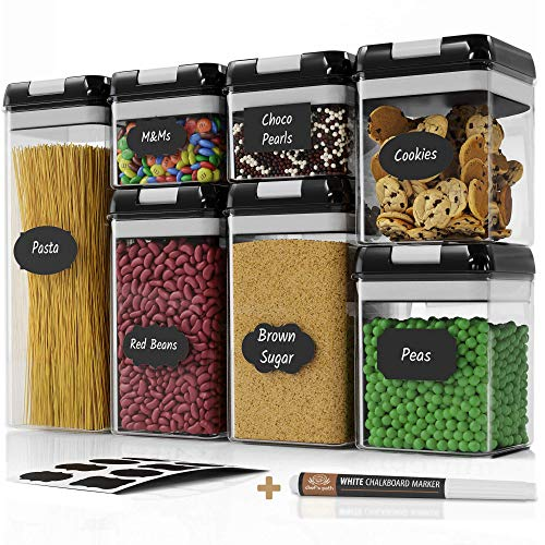 (Chef's Path Airtight Food Storage Container Set - 7 PC Set - 10 Chalkboard Labels & Marker - Kitchen & Pantry Containers - BPA-Free - Clear Plastic Canisters with Improved Durable Lids)