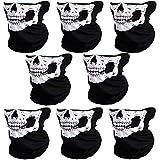 CIKIShield 8pcs Couples Seamless Skull Face Tube Mask Black/White