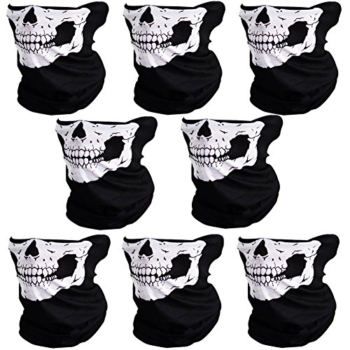 Skull Design Awesome (CIKIShield 8pcs Couples Seamless Skull Face Tube Mask Black/White)