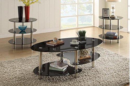 Poundex F3054 Alberta 3-Pc Glass Metal Tube Table Set, ()