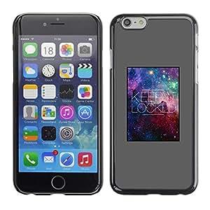 FECELL CITY // Duro Aluminio Pegatina PC Caso decorativo Funda Carcasa de Protección para Apple Iphone 6 // Keep Quote Lock Stars Universe Galaxy