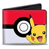 Bi-Fold Wallet - Pikachu Poses/Poké Ball CLOSE-UP Red/White/Black