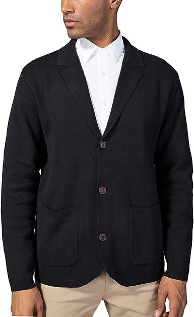 Kallspin - Cárdigan de algodón con cuello en V y cuello para hombre, ajuste relajado, con botones y bolsillos Negro Negro (X-Large: Amazon.es: Ropa y accesorios