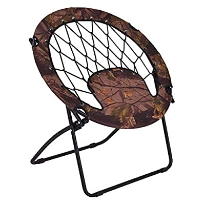 Casart Folding Bunjo Bungee Chair Outdoor Camping Gaming Hiking Garden Patio Round Web Portable Steel Bungee Dish Chairs (Brown) : Garden & Outdoor