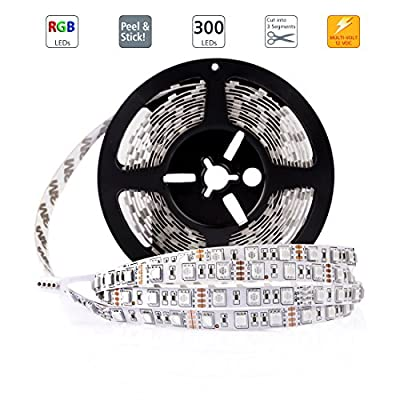 LEDMO 12V Flexible SMD 5050 RGB LED Strip Lights, LED Tape, Multi-colors, 300 LEDs, Non-waterproof, Light Strips, Color Changing, Pack of 16.4ft/5m Strips
