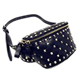 Texas West Rivets Waist Bag PU Leather Chest Pack Fanny Pack Bags In Multi Colors (Black)