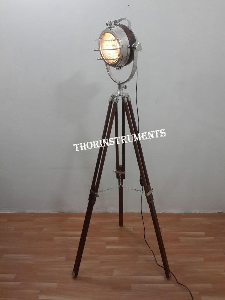 Hollywood Unique Floor Lamp Chrome Focus Light Vintage Style Nautical Home Décor