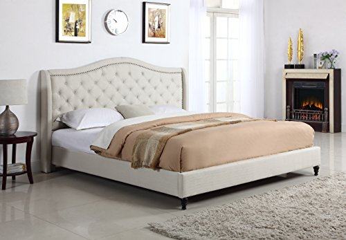 """Home Life Cloth Light Beige Cream Linen Curved Hand Diamond Tufted and Nailed Headboard 53"""" Tall Headboard Platform Bed with Slats Queen - Complete Bed 5 Year Warranty Included 013"""