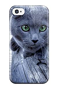 High-end Case Cover Protector For Iphone 4/4s(gray Cat On A Wooden Deck) Kimberly Kurzendoerfer