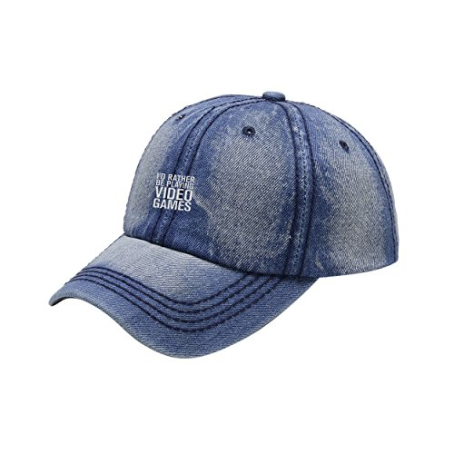 Fashion-Cap Rather Be Playing Video Games Blue Cowboy Washed Dyed Peaked Hat Embroidered Logo Adjustable Fish Cap