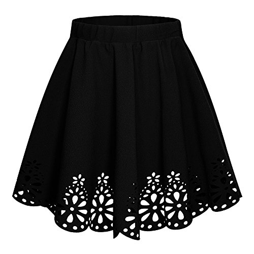 Urban CoCo Women's Basic Flared Scallope Hem Mini Skater Skirt (S, Black)