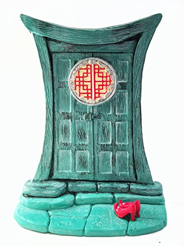 Miniature Zen Fairy Door for Miniature Garden Fairies and Gnomes - Beautiful Turquoise Asian-Style Zen Fairy Miniature Door with Removable Red Fairy Shoes -