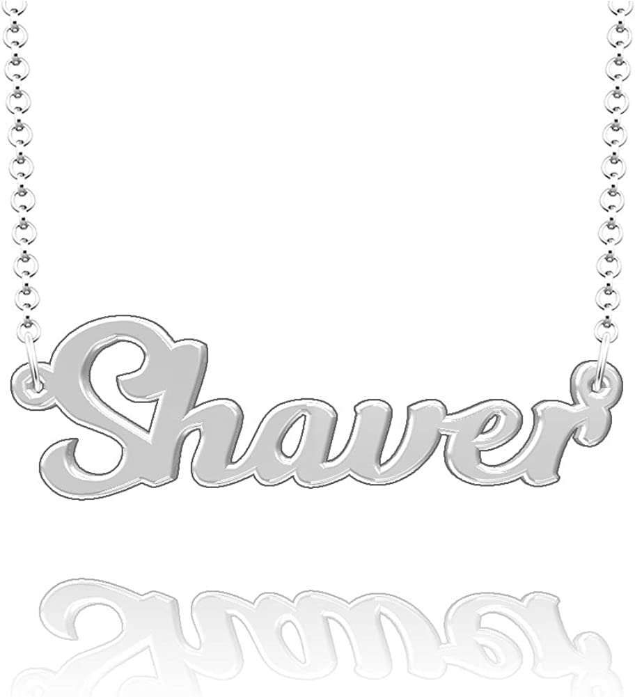 CLY Jewelry Personalized Last Name Necklace Custom Sterling Silver Shaver Plate Customized Gift for Family