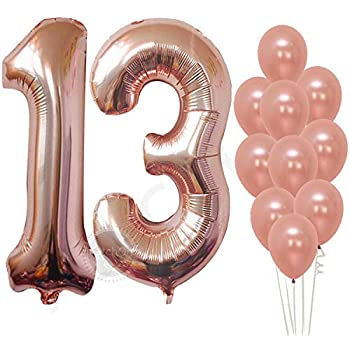 Rose Gold 13 Number Balloons