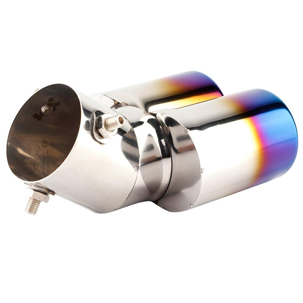 Aramox Exhaust Tail Pipe Universal Stainles Steel Material Chrome Trim Car Modified Exhaust Pipe Rear Muffler Tip Tail Throat