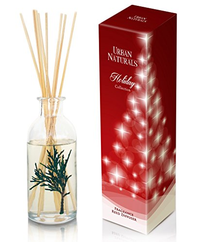 nted Oil Reed incense Diffuser Set with Real Pine Needles! Holiday Wreath by Urban Naturals | Holly Berry & Frosted Fir Needles | Makes a Great Gift any time of year! (Cranberry Reed Diffuser)