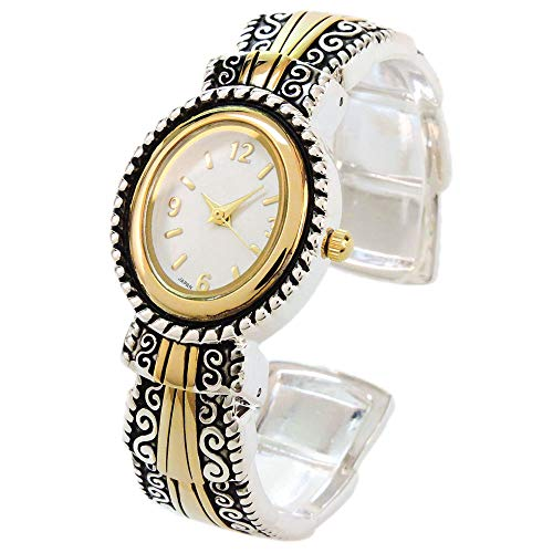 Western Watch Style - 2Tone Metal Western Style Decorated Oval Face Women's Bangle Cuff Watch