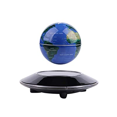 """Floating Globe 6"""" Magnetic Levitation Floating Globe Anti Gravity Rotating World Map LED Blue Globe for Children Educational Gift Home Office Desk Decoration (A): Office Products"""