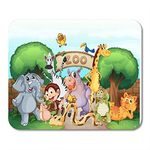 (Semtomn Mouse Pad Green of Zoo and The Animals in Beautiful Nature Mousepad 9.8