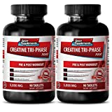Creatine in capsules - Creatine Tri Phase 5000 Mg - Improves maximal power (2 Bottles - 180 Tablets)
