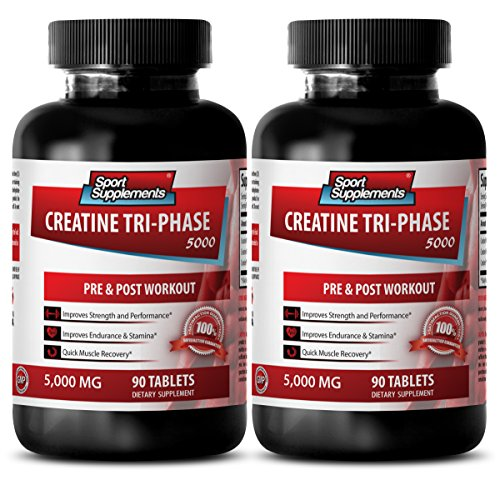 Fat loss supplement - CREATINE TRI-PHASE 5000 - PRE & POST WORKOUT - creatine in pill form - 2 Bottles (180 Tablets)