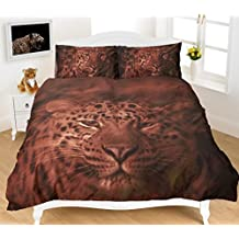 RIMI Hanger Duvet Cover Sets 3D Animal Print Bedding Pillow Cases King Size Double Single (Double, Chocolate)