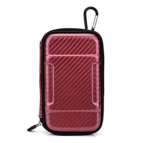 Electric Red Hard Cover Case for Travel w/Hook & Internal Compartments:WD My Passport Ultra (500GB, 1TB, (Passport Ultra 500)