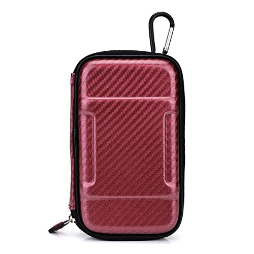 Vape & Mod Portable Travel Case Compatible with iSMOKA Eleaf iJust / iKit Vaporizer Pen |Semi-hard Protective Shell with Standing Capability & Carabiner Hook for Easy Attachment|Glossy Maroon Red & Pink Camo